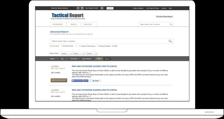 Tactical Report Web Design & Development