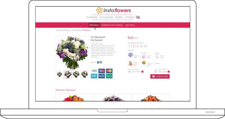 Insta Flowers Web Design & Development